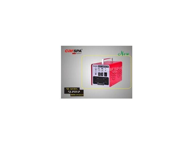 Systém solárního osvětlení CARSPA SL2012 - 20W panel, 12Ah batterie, 2x LED 3W, 2x 5m kabel, USB redukce