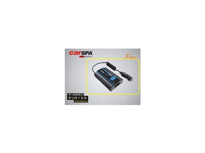 Měnič napětí Carspa PID150-12 12V/230V+USB 150W, modifikovaná sinus, digitální display, vhodný do auta