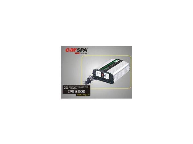 Měnič napětí Carspa CPS2000-24 24V/230V 2000W, čistá sinus, s nabíječkou 24V/8A a funkcí UPS