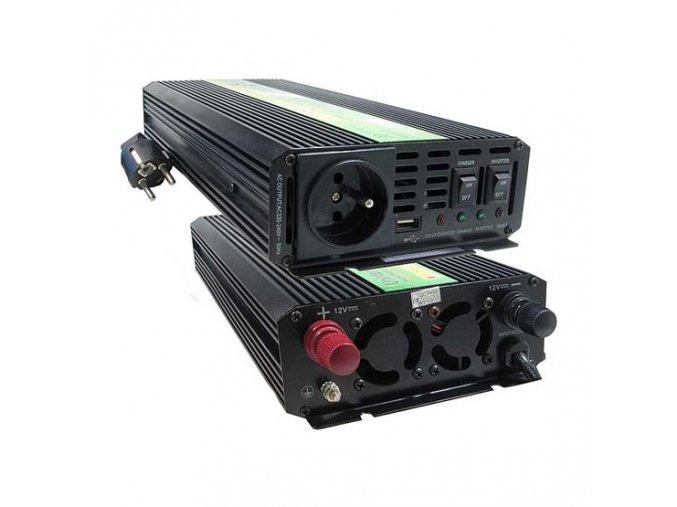 Měnič napětí Carspa UPS2000-12 12V/230V 2000W s nabíječkou 12V/10A a funkcí UPS