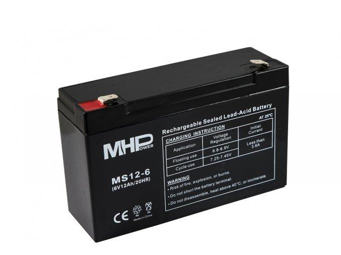 mhpower ms12 6 oloveny akumulator agm 6v 12ah faston f2 6 3mm i35591