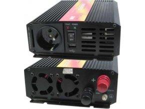 Měnič napětí Carspa P300U-12 12V/230V+USB 300W, čistá sinusovka