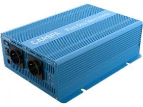 Měnič napětí Carspa SK3000 12V/230V+USB 3000W, čistá sinus, dálkové ovládání