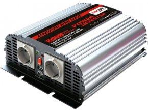 Měnič napětí Carspa MSD1500UR-122 12V/230V+USB 1500W, modifikovaná sinus, dálkové ovládání na kabelu
