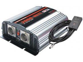 Měnič napětí Carspa MSD2000UR-122, 12V/230V+USB 2000W, modifikovaná sinus, dálkové ovládání na kabelu, digital display
