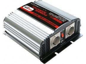 Měnič napětí Carspa MS1000UR-242, 24V/230V+USB 1000W, modifikovaná sinus, dálkové ovládání na kabelu