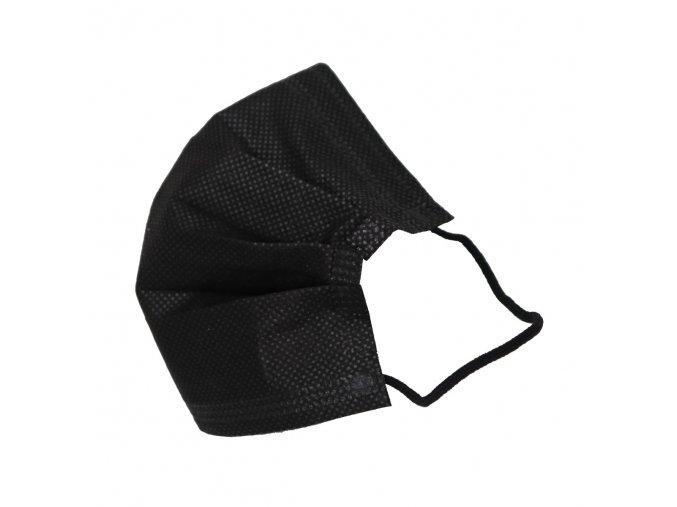 Jednorázová černá rouška 3-vrstvá - balení 50 ks