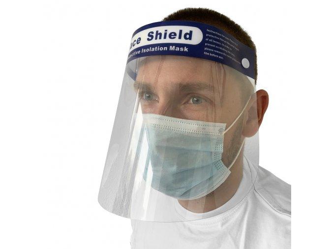 Ochranný štít na tvár priehľadný
