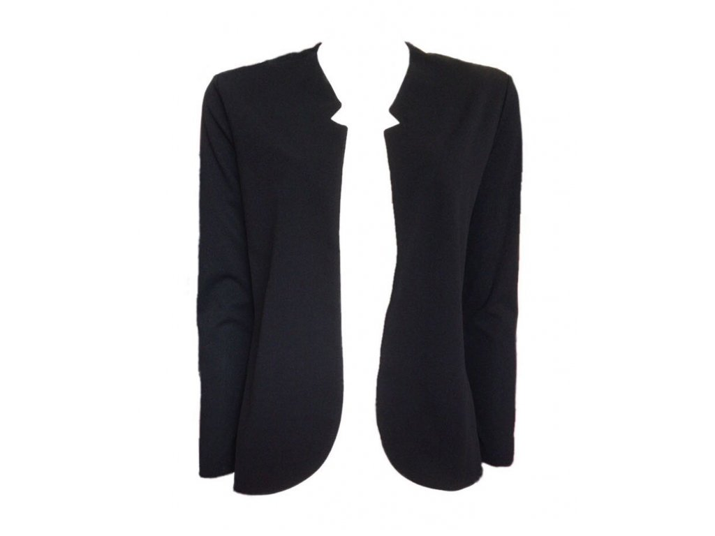 Černé sako bez zapínání, italské, perfektní střih, velmi příjemný nemačkavý materiál