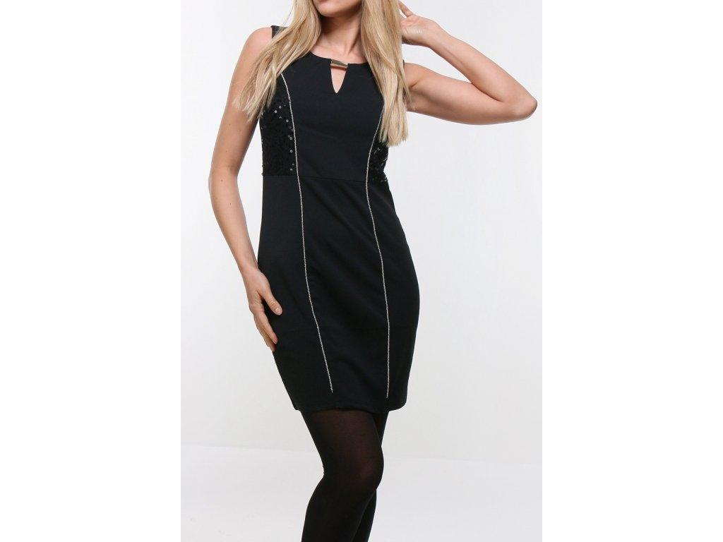 Koktejlové černé šaty, zapínání na zip na zádech, elastické