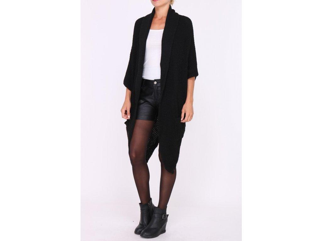 Luxusní černý maxi svetr