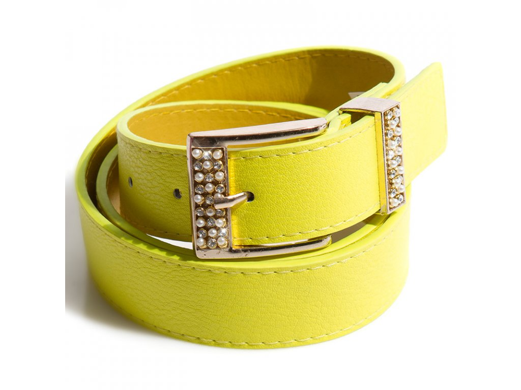 Žlutý neonový pásek s perličkami