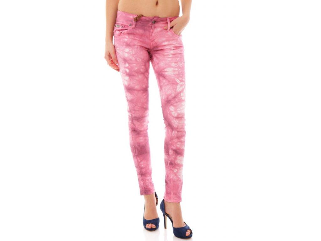 Letní batikované kalhoty růžové SEXY WOMAN [J1884]
