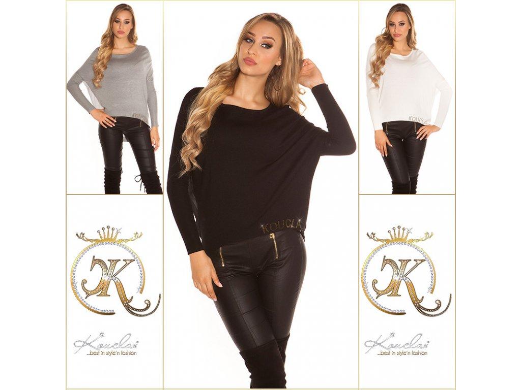 ooKouCla HighLow sweater chiffon rhinestone Color BLACK Size Einheitsgroesse 0000ISF8646 N SCHWARZ 30 1