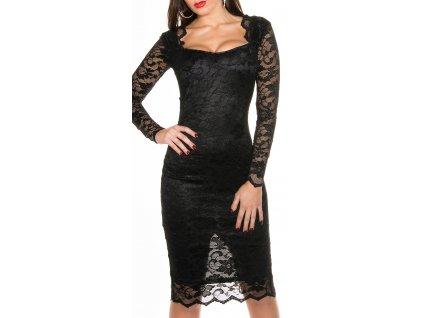 Koktejlky šaty černé s krajkou. Push up efekt!!! Krásně se přizpůsobí každé postavě KouCla