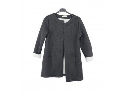 Otevřený kabátek, boční kapsy, možnost ohrnutých rukávů