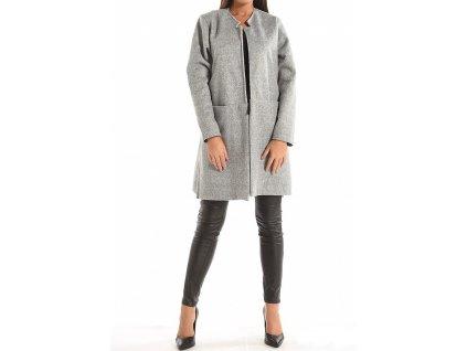 Kabátek šedý bez zapínání, minimalistický, skryté kapsy