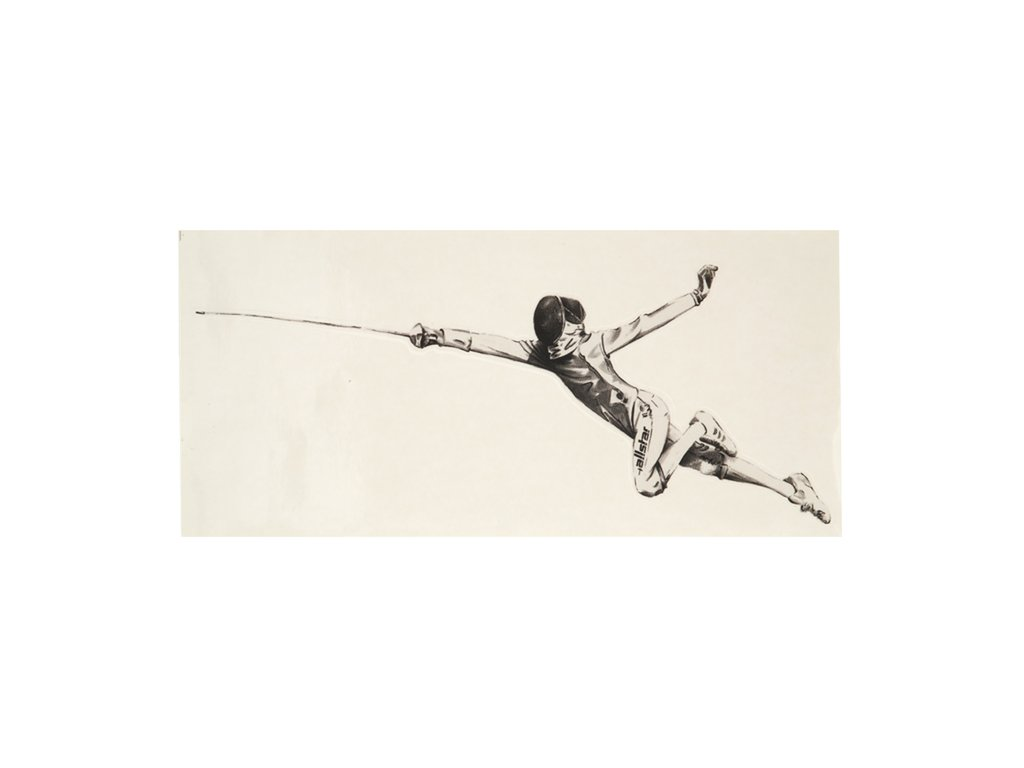 Šermíř ve fleši - samolepka, s průhledným pozadím, velká, černá (Barva černá)