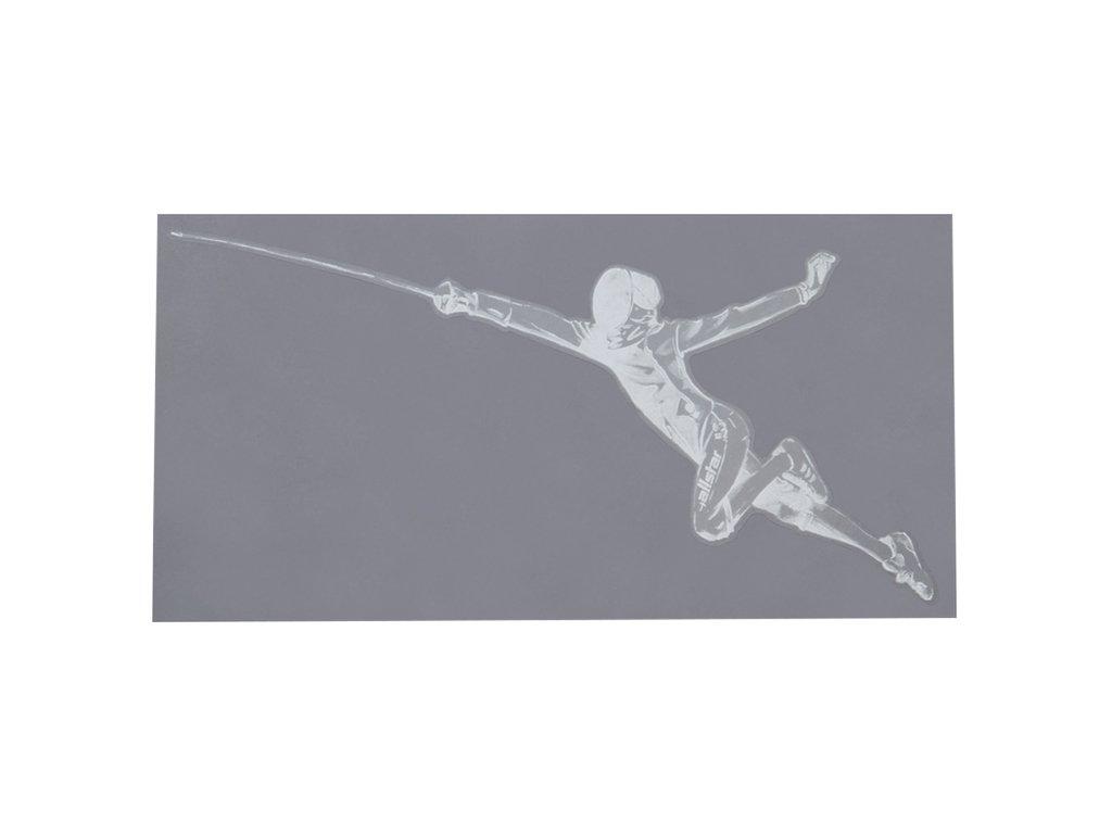 Šermíř ve fleši - samolepka, s průhledným pozadím, velká, bílá (Barva bílá)