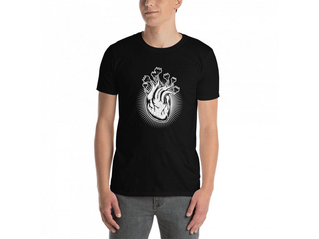 Fencing Heart Design on balck shirt mockup Front Mens 2 Black