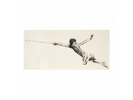 Šermíř ve fleši - samolepka, s průhledným pozadím, malá, černá (Barva černá)