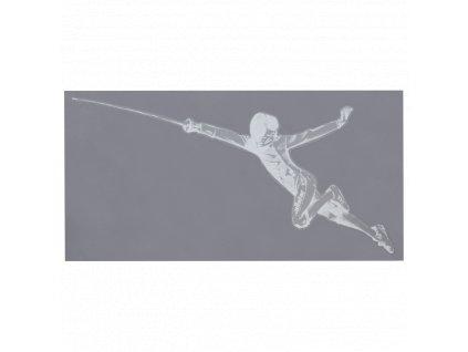 Šermíř ve fleši - samolepka, s průhledným pozadím, malá bílá (Barva bílá)