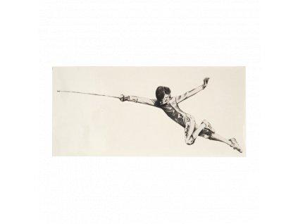 Šermíř ve fleši - samolepka, s průhledným pozadím, střední, čern (Barva černá)