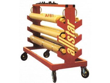 2562 transportni a skladovaci pojezdovy stojan na kovove planse allsta