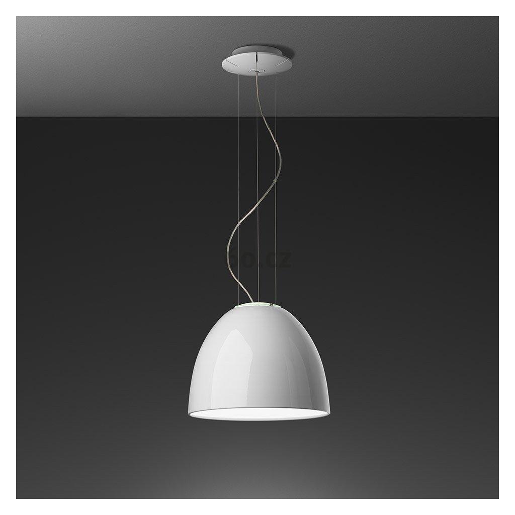 Artemide Nur Gloss mini Halo White , závěsné svítidlo v bílém lesku, 1x150W E27, prům. 36cm