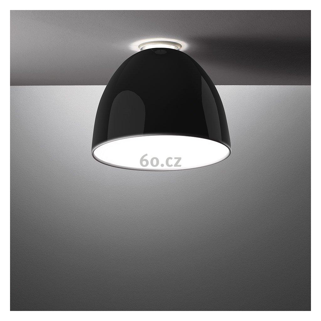 Artemide Nur Gloss mini soffitto Halo Black, stropní svítidlo v černém lesku, 1x150W E27, prům. 36cm