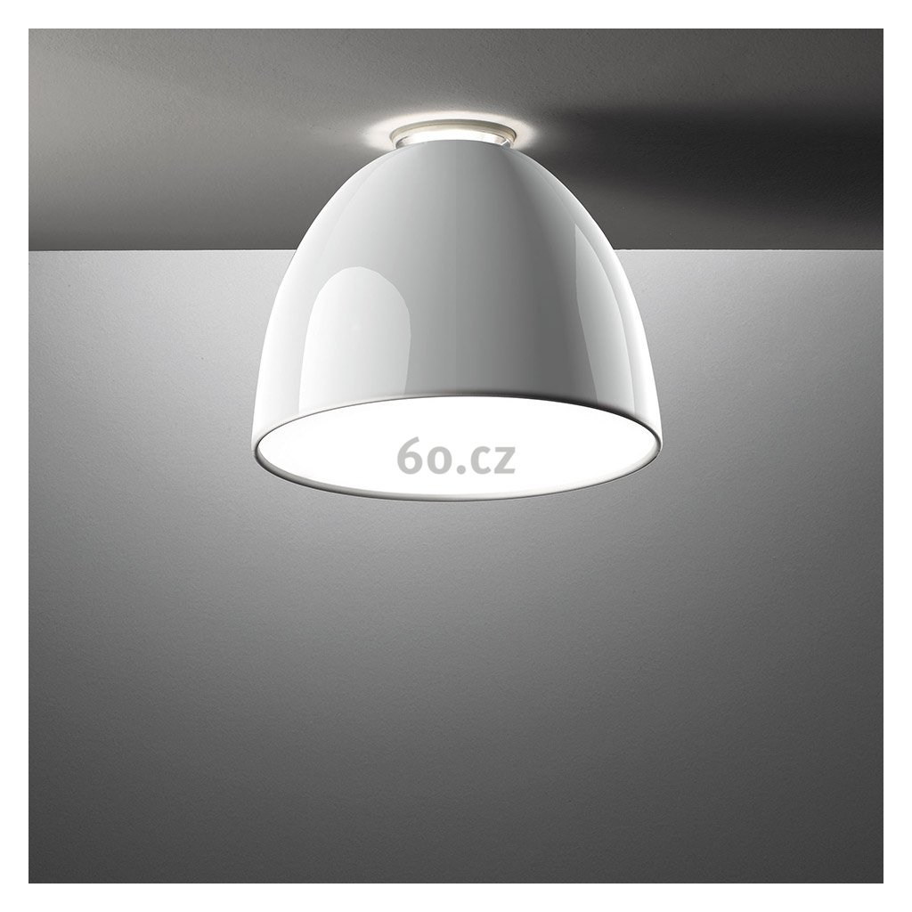 Artemide Nur Gloss mini soffitto Led White, stropní svítidlo v bílém lesku, 30W LED 2700K, prům. 36cm