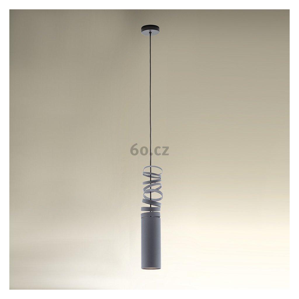Artemide Decomposé Light, šedé závěsné svítidlo, 1x8W E27, výška 60cm