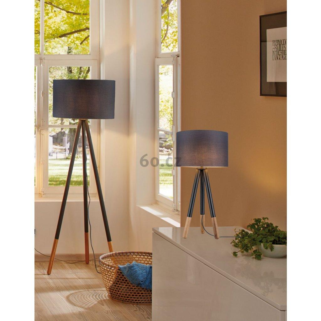 Paulmann Neordic Rurik, stolní lampička ze dřeva a látky, 20W LED E27, výška 70cm