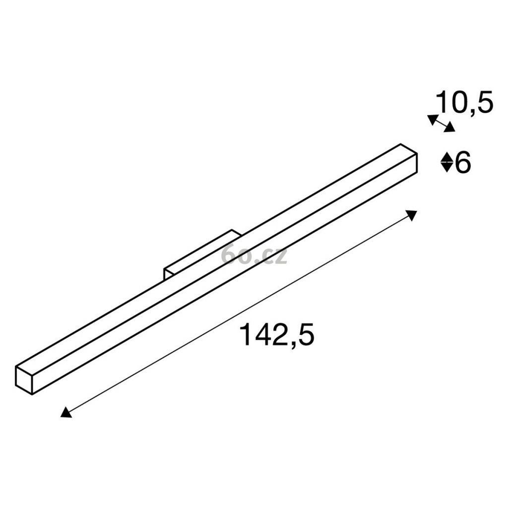 42045 3 slv q line cerne linearni nastenne svitidlo 42w led 3000k delka 142 5cm