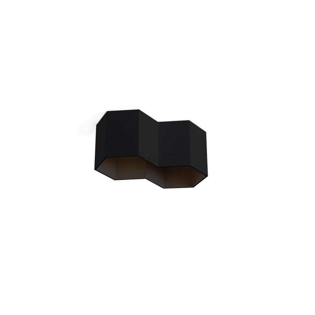 48603 5 wever ducre hexo 2 0 led cerne stropni sestiuhelnikove svitidlo 2x8w led 2700k vyska 10cm
