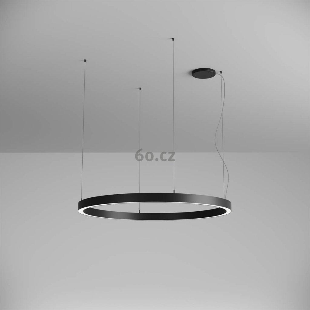 Arelux Xambit, černé závěsné kruhové svítidlo, 75W LED 4000K, prům. 120cm