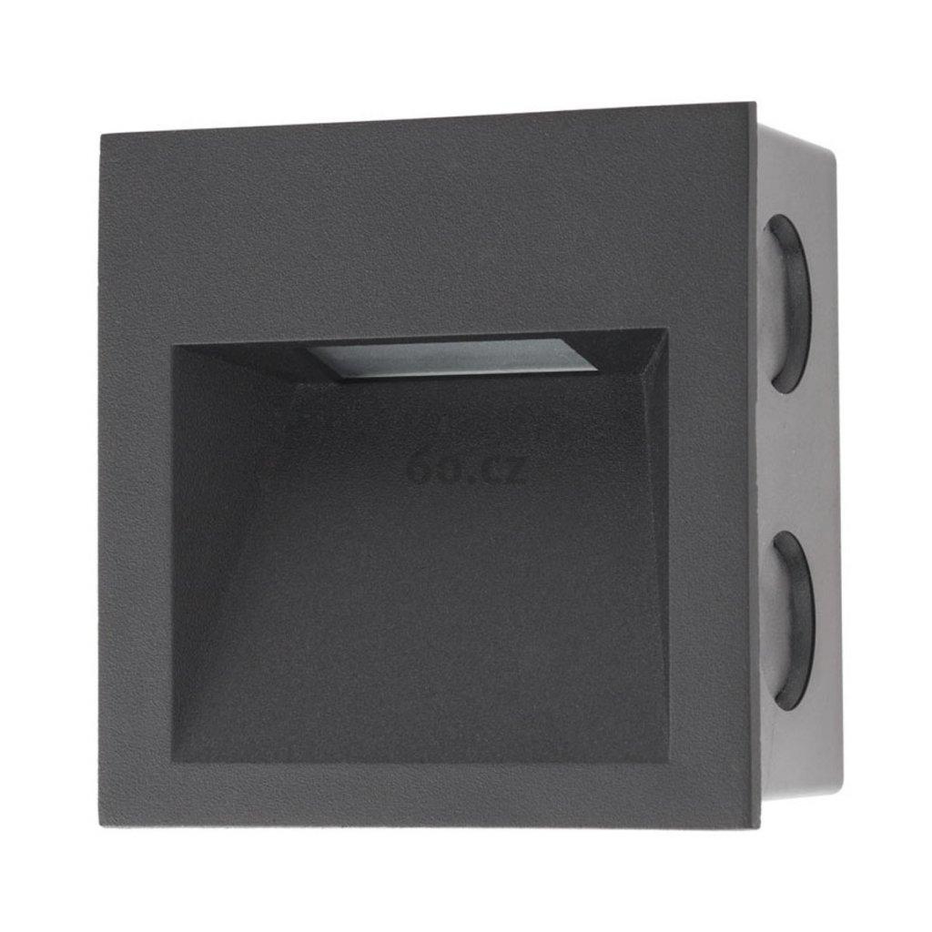 Arelux Xghost, černé interiérové zápustné svítidlo do stěny, 2W LED 4000K, 9x9cm, IP20