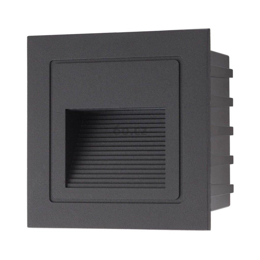 Arelux Xghost, černé venkovní zápustné svítidlo do stěny, 2W LED 3000K, 8,5x8,5cm, IP65