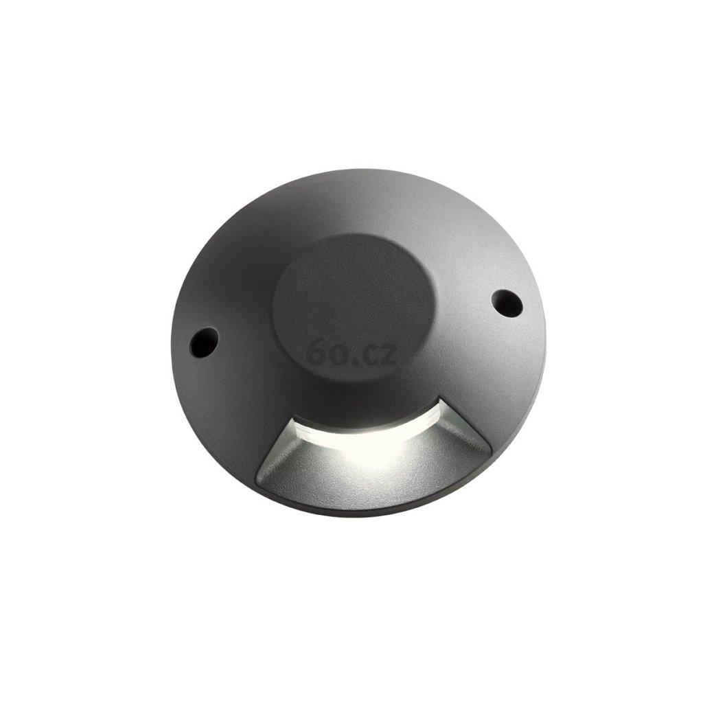 Arelux Xpuck, šedé zemní svítidlo s jednosměrným svícením, 1x6W LED 3000K, prům. 20cm, IP67