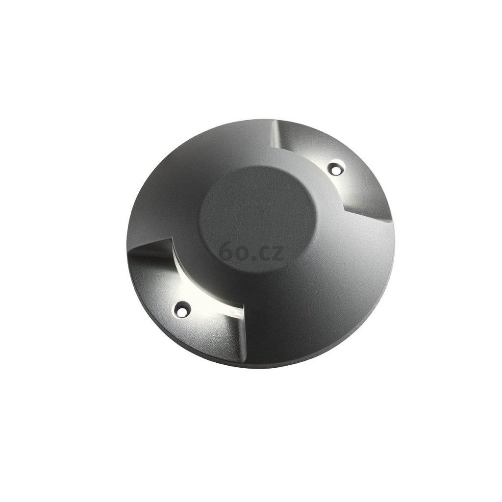 Arelux Xpuck, šedé zemní svítidlo s dvojsměrným svícením, 2x6W LED 3000K, prům. 20cm, IP67