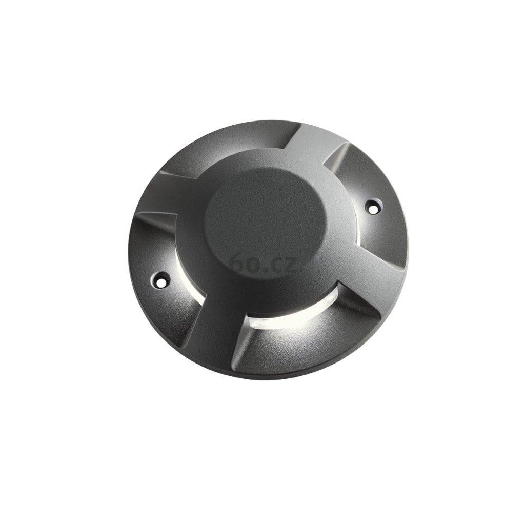 Arelux Xpuck, šedé zemní svítidlo s čtyřsměrměrným svícením, 4x3W LED 3000K, prům. 20cm, IP67