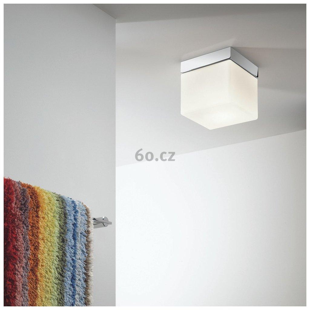Astro Lighting Sabina Square 7095, čtvercové stropní svítidlo do koupelny, 1x60W, chrom/ bílé sklo, 17,5x17,5cm, IP44