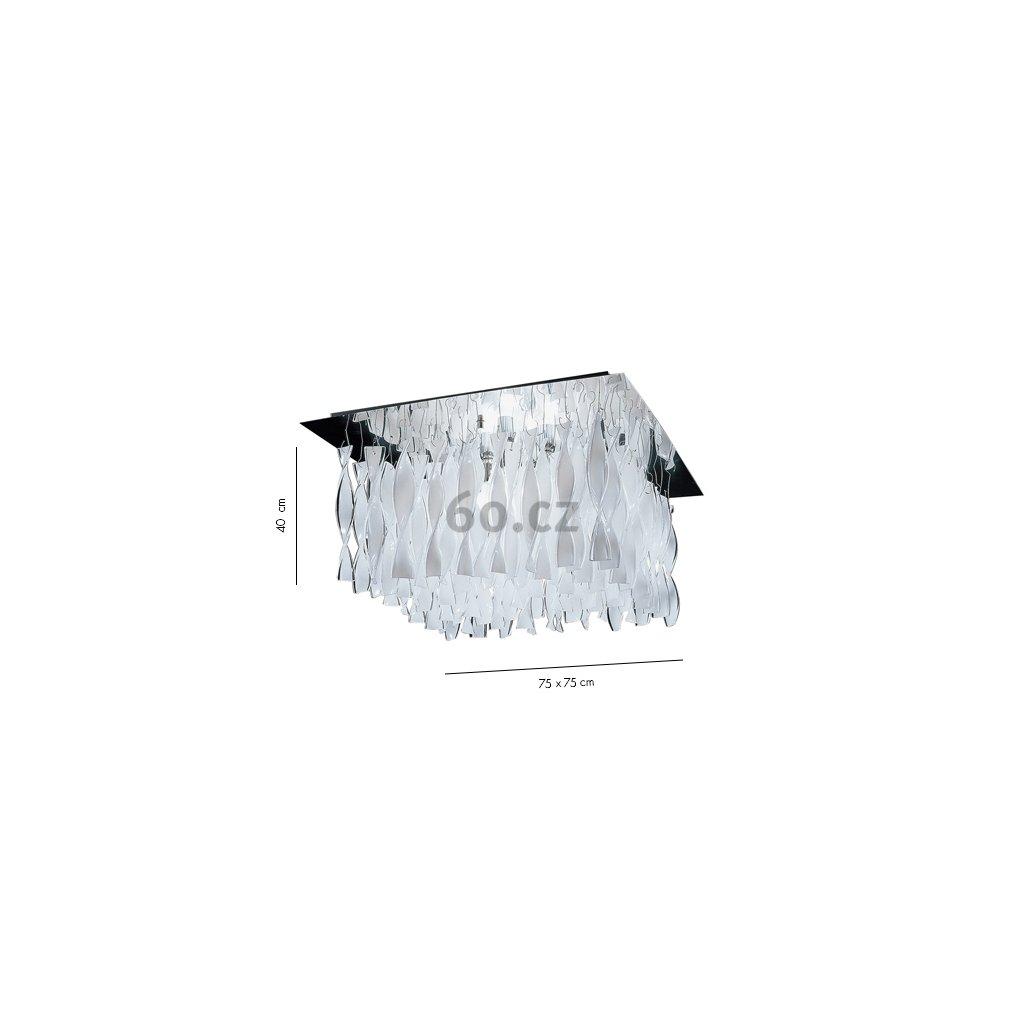 Axolight Aura, luxusní stropní svítidlo z bílého muránského skla, 4x100W E27, 75x75cm, délka 40cm