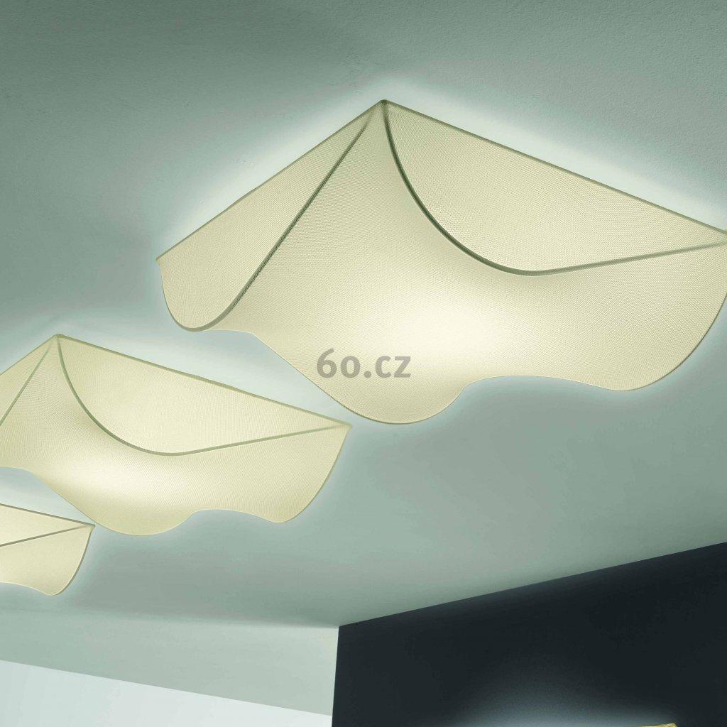 Axolight Stormy, stropní designové svítidlo z krémového textilu, 2x100W, 60x60cm