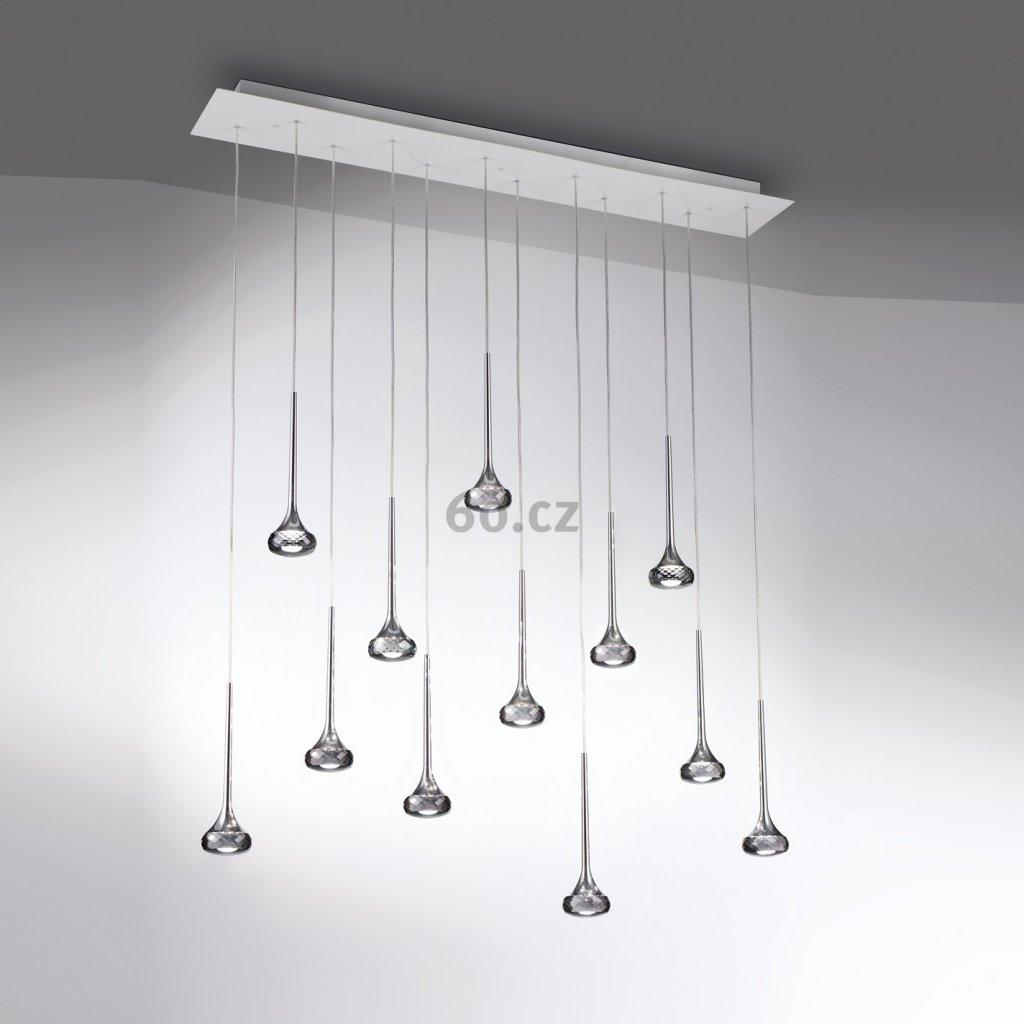 Axolight Fairy, designové lineární závěsné svítidlo, 12x6,4W LED, chrom, křišťálové sklo, délka 120cm