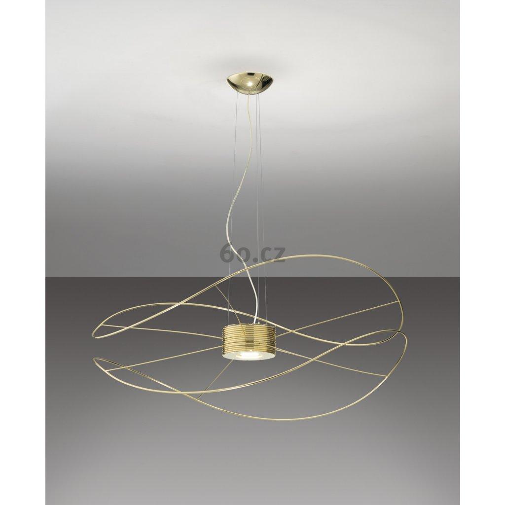 Axolight Hoops 2, zlaté závěsné svítidlo,  2x17,5W LED 3000K stmívatelné, prům. 100cm, výška 43cm