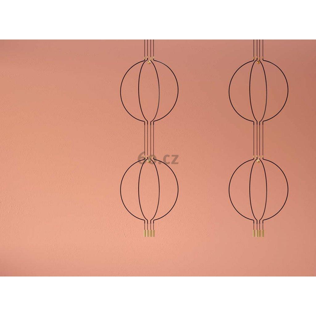 Axolight Liaison M4 2level, černo-zlaté závěsné svítidlo, 2x7,5W LED 3000K stmívatelné, délka 2x91cm, prům 84cm