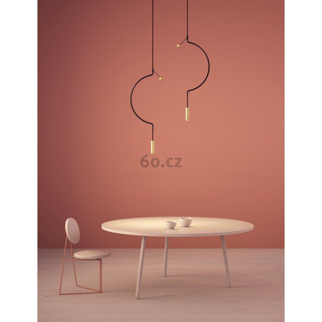 Axolight Liaison G1, černo-zlaté závěsné svítidlo, 9W LED 3000K stmívatelné, délka 110cm