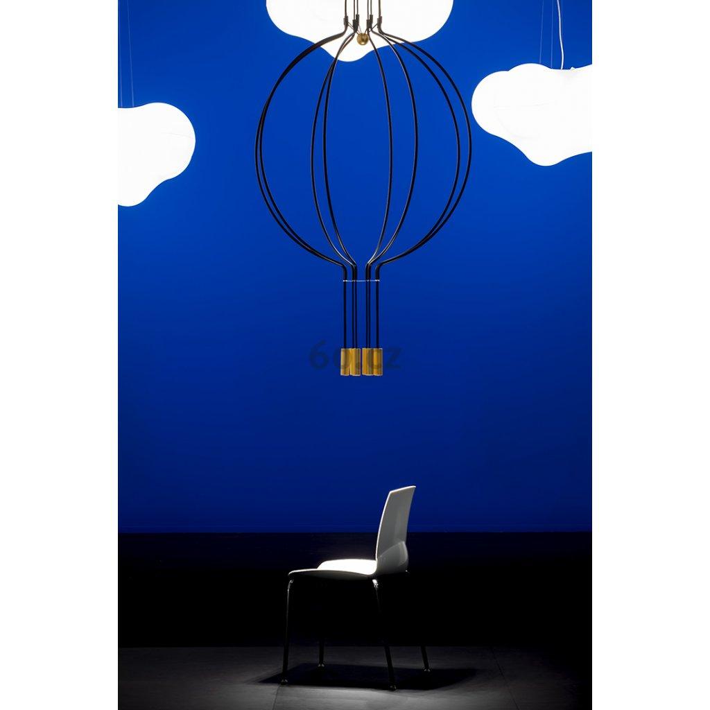 Axolight Liaison G8, černo-zlaté závěsné svítidlo, 8x7,5W LED 3000K stmívatelné, délka 110cm, prům 100cm