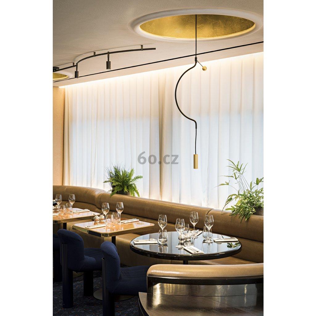 Axolight Liaison M1, zlato-černé závěsné svítidlo, 9W LED 3000K stmívatelné, délka 91cm